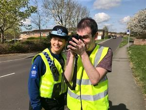 Officers and day centre users carry out speed checks in Blandford